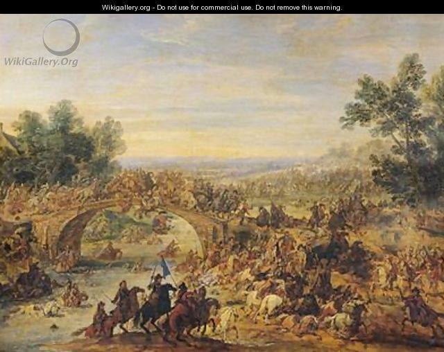 Cavalry Battle on a Bridge - Adam Frans van der Meulen