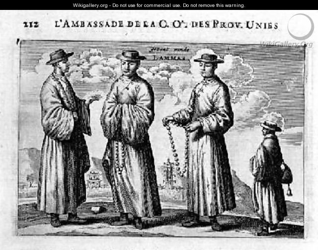 Lamas of China from an account of a Dutch Embassy to China 1665 - Jacob van Meurs
