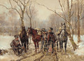 French hussars in a winter landscape - Guido Sigriste