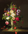 A bouquet with orange blossom, indian cress, roses, irisses and violets - Gustav Berkholz