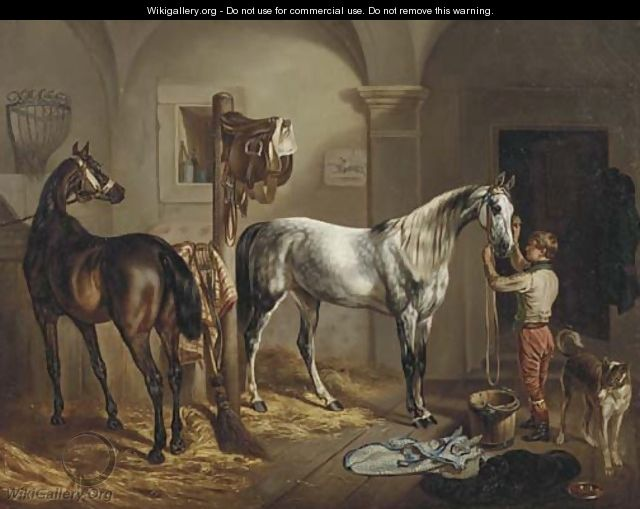 Tending to the horses - Gustav Adolf Friedrich
