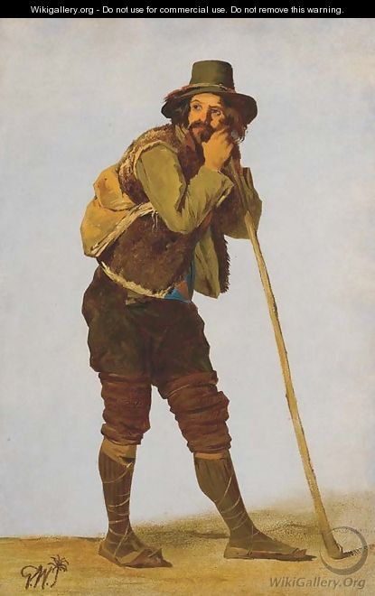 A Roman shepherd leaning on his staff - Gustaf-Wilhelm Palm