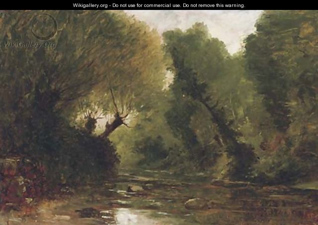 A forest stream - a study - Gustave Castan