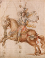 A fantastic figure on horseback holding a conch design for a cavalcade - Giulio Parigi