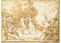 Peasants dancing in a landscape surrounded by musicians - Giuseppe Gambarini