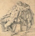 A seated nude youth turning addressed by a soldier - Giuseppe (d'Arpino) Cesari (Cavaliere)