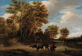 A wooded landscape with a herdsman and cattle on a track, peasants and a cottage beyond - Godaert Kamper