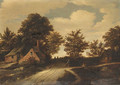 A hamlet with peasants on a path in a wooded landscape - Godaert Kamper
