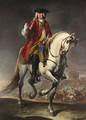 Equestrian portrait of Field Marshal Count Johann Matthias von der Schulenburg, full-length, in a red coat and a breastplate on a grey mare - Giuseppe Nogari
