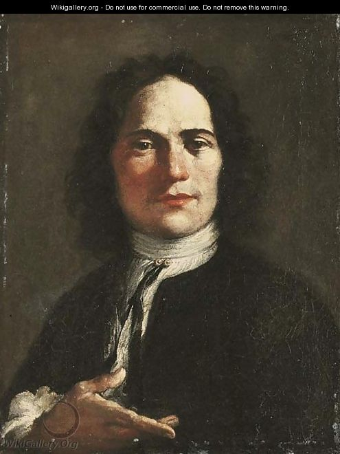 Portrait of an artist, half-length, in a black coat and a white shirt - Giuseppe Maria Crespi