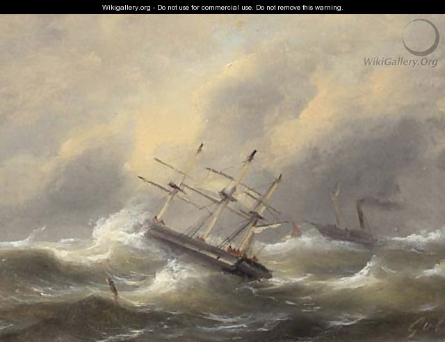 Sailing ships in stormy weather - Govert Van Emmerik