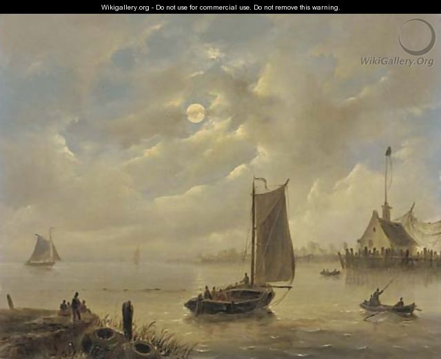 Approaching a harbour town by moonlight - Govert Van Emmerik