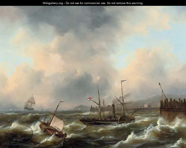A paddle steamer on rough water - Govert Van Emmerik