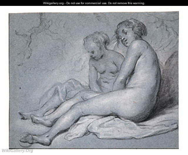 Study of two female seated Nudes - Govert Teunisz. Flinck