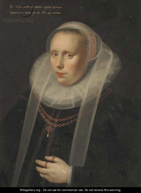 Portrait of a lady, half-length, in a ruff collar and a black silk dress, wearing a gold chain - Gortzius Geldorp