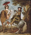 An equestrian portrait of an elegant gentleman and lady in a wooded landscape, a village beyond - Gonzales Coques