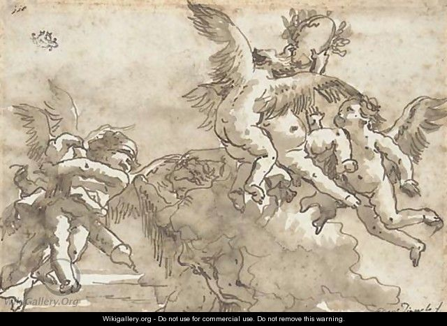 Putti playing with a crown of laurels, Cupid blindfolded to the left - Giovanni Domenico Tiepolo