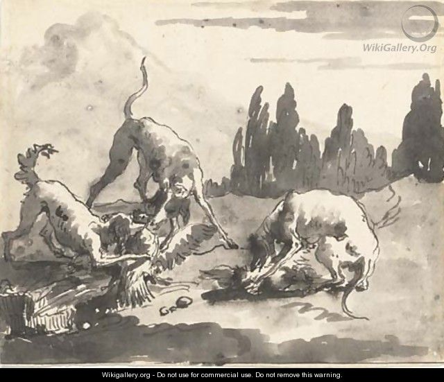 Dogs attacking chickens in a landscape - Giovanni Domenico Tiepolo