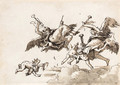 Angels in flight blowing trumpets - Giovanni Domenico Tiepolo