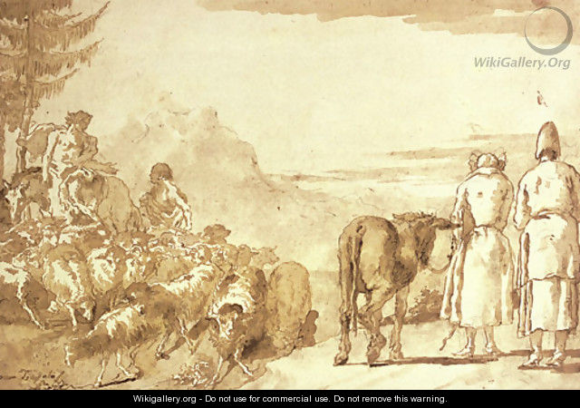 A pastoral scene with two shepherds tending their flock and a peasant couple leading a donkey - Giovanni Domenico Tiepolo