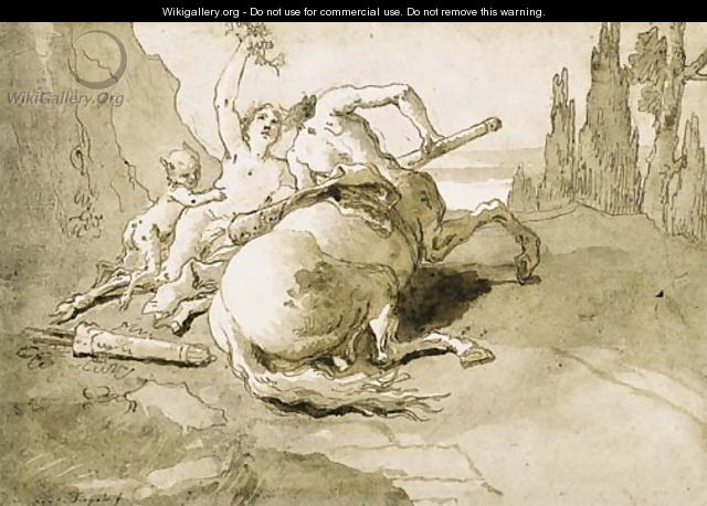 A centaur garlanded by a satyress and a faun - Giovanni Domenico Tiepolo