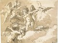 A blindfolded putto standing on a cloud with other putti and an eagle - Giovanni Domenico Tiepolo