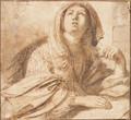 A seated sybil looking up to the left, half-length, resting her hand on a book - Giovanni Francesco Guercino (BARBIERI)