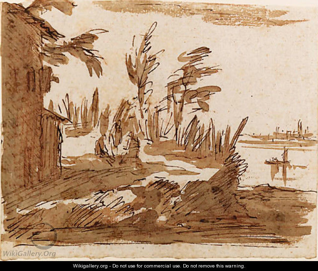 A View of the Lagoon with three Figures by a House, Venice in the background - Giovanni Domenico Tiepolo
