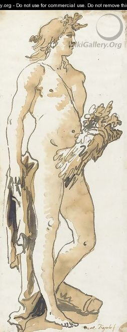 Zephyr, standing in profile to the right, holding a cornucopia - Giovanni Domenico Tiepolo