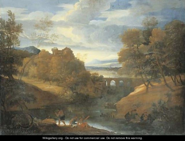 A classical river landscape with figures fishing - Giovanni Francesco Grimaldi