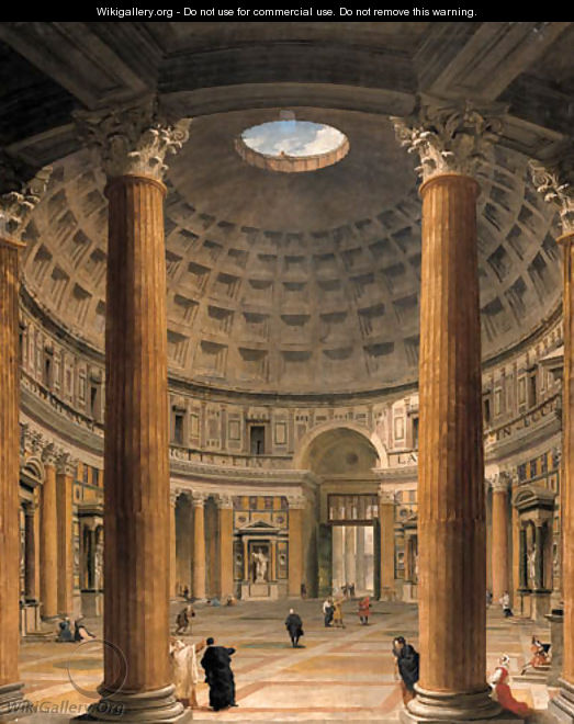 The Interior Of The Pantheon Rome Looking North From The Main