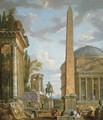 A capriccio with figures gathered around the Obelisk of Augustus, a view of the Pantheon, the Statue of Marcus Aurelius and the Temple of Sybil, Tivol - Giovanni Paolo Panini