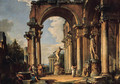 A capriccio of a ruined loggia with figures conversing by the Borghese Gladiator and the Apollo Belvedere, the Basilica of Maxentius - Giovanni Paolo Panini