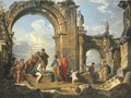 A capriccio of Roman ruins with the Parable of the Fishes - Giovanni Paolo Panini