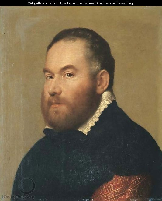 Portrait of a gentleman, bust-length in a brocaded red velvet doublet with a black cloak and a white collar - Giovanni Battista Moroni