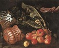 Turnips in a basket with cauliflower, cardoon, apples and a copper pot on a ledge - Giovanni Battista Ruoppolo