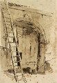 The entrance to a large barn, a ladder leaning against the wall to the left - Giovanni Battista Tiepolo