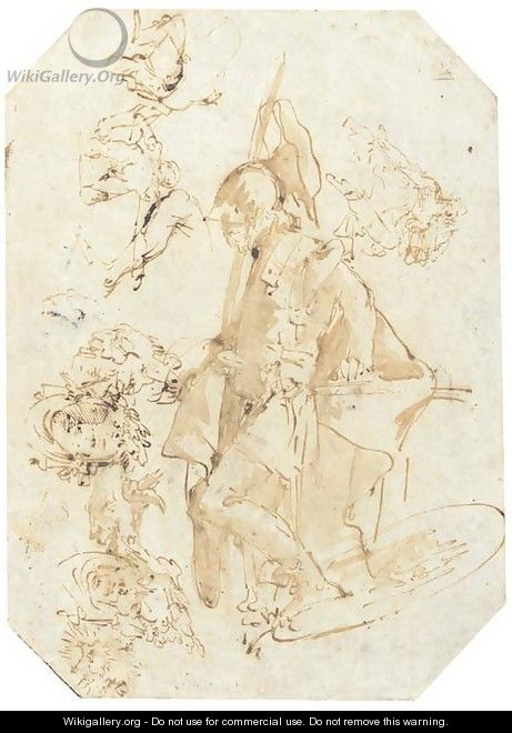A standing soldier, with studies of heads and figures seen di sotto in su - Giovanni Battista Tiepolo