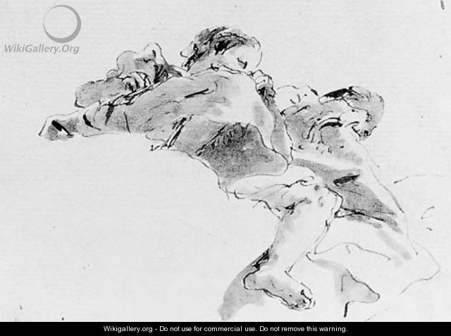 Two figures seated on a cloud, seen de sotto in su - Giovanni Battista Tiepolo