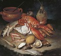 A lobster, herring, turbot, skate, red mullets and oysters with turnips, onions, a lemon, an earthenware pot and a wicker and glass bottle on a stone - Giacomo Ceruti (Il Pitocchetto)