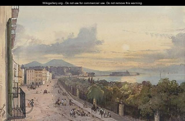 On the promenade at dusk, Naples - Giacinto Gigante