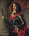 Portrait of Prince Edward of the Palatinate (1625-1663), three-quarter-length, in armour and a red mantle, a baton in his right hand, before a column - Gerrit Van Honthorst