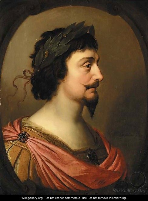 Portrait of King Frederick V of Bohemia, bust-length, in profile, a la Romaine, in a feigned oval cartouche - Gerrit Van Honthorst