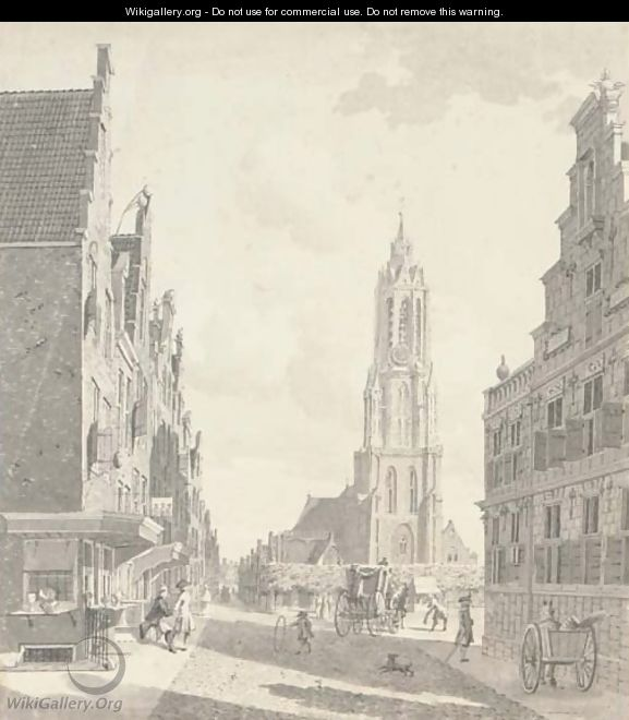 A view from the marketplace with the Nieuwekerk in Delft - Gerrit Toorenburgh