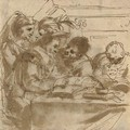 A group of figures at a table reading books - Gian Antonio Burrini