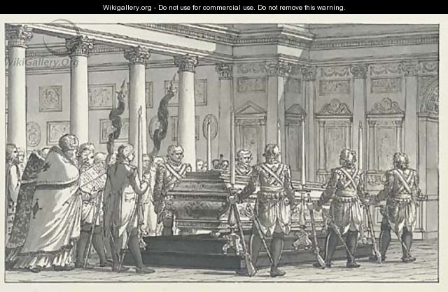 The Lying-in-State of the Emperor Paul I (1796-01), with a guard of honour, in a neoclassical interior - Giacomo Quarenghi