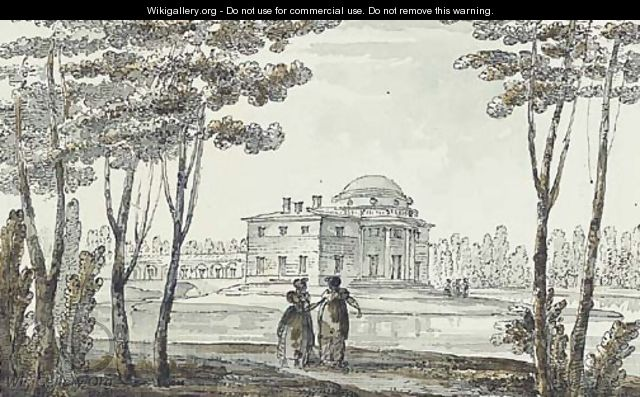 A neoclassical pavillion, perhaps in the park at Tsarskoe Selo - Giacomo Quarenghi