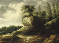 A wooded rocky landscape with a couple tending sheep - Gilles Peeters