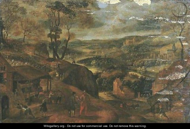 Autumn an extensive landscape with the vendange - Gillis Mostaert