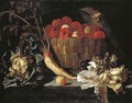 Apples in a wicker basket, with a cabbage, parsnip, lettuce and an apple on a stone ledge - Giuseppe Recco